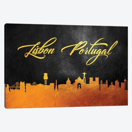 Lisbon Portugal Gold Skyline Canvas Print #ABV66} by Adrian Baldovino Art Print