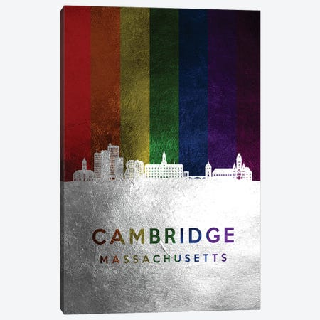 Cambridge Massachusetts Spectrum Skyline Canvas Print #ABV672} by Adrian Baldovino Canvas Artwork