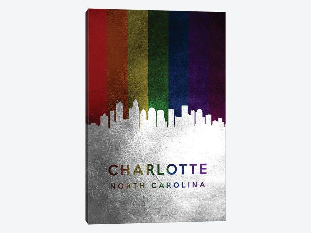 Charlotte North Carolina Spectrum Skyline by Adrian Baldovino 1-piece Canvas Art