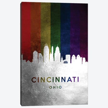 Cincinnati Ohio Spectrum Skyline Canvas Print #ABV675} by Adrian Baldovino Canvas Art Print