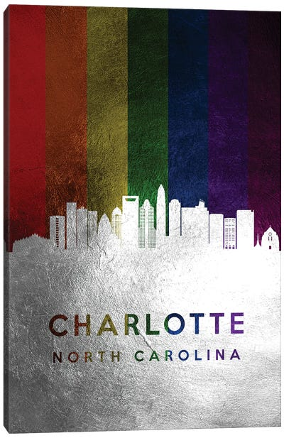 Charlotte North Carolina Spectrum Skyline 2 Canvas Art Print