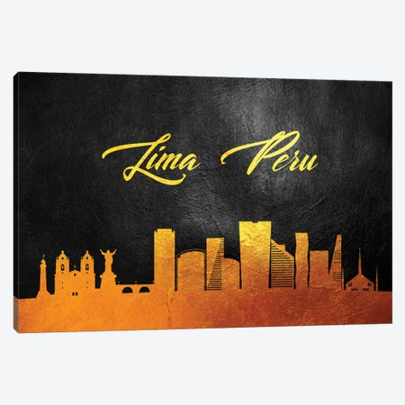 Lima Peru Gold Skyline Canvas Print #ABV67} by Adrian Baldovino Canvas Print