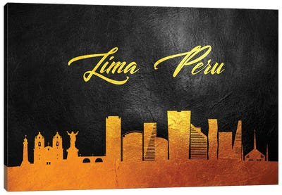 Lima Peru Gold Skyline Canvas Art Print