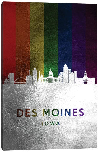 Des Moines Iowa Spectrum Skyline Canvas Art Print