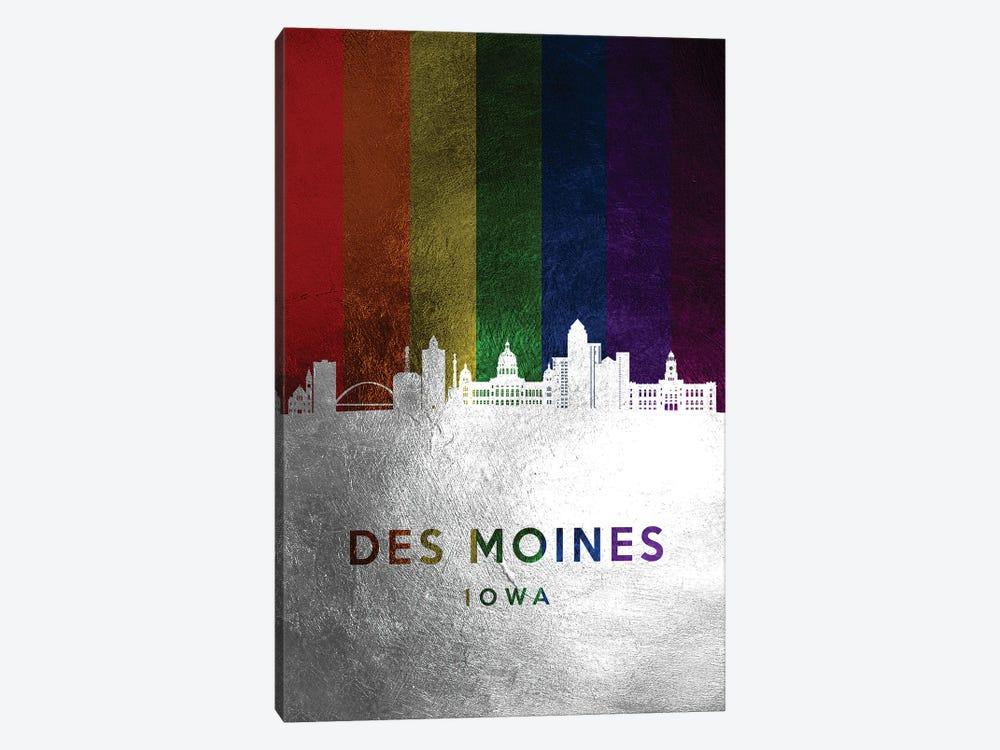 Des Moines Iowa Spectrum Skyline by Adrian Baldovino 1-piece Canvas Art