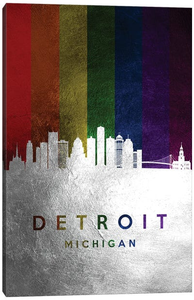 Detroit Michigan Spectrum Skyline Canvas Art Print