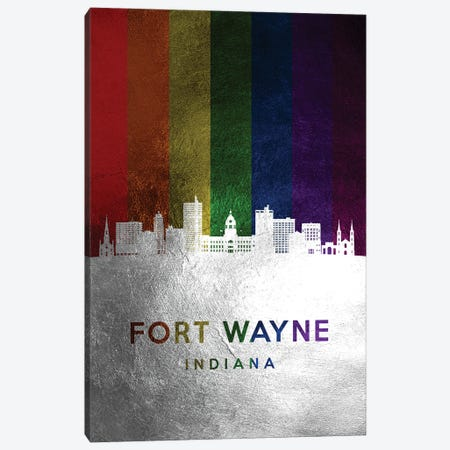 Fort Wayne Indiana Spectrum Skyline Canvas Print #ABV689} by Adrian Baldovino Art Print