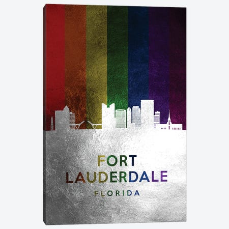 Fort Lauderdale Florida Spectrum Skyline Canvas Print #ABV692} by Adrian Baldovino Canvas Art