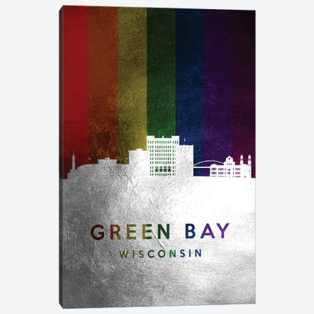 Green Bay Wisconsin Spectrum Skyline Canvas Print #ABV693} by Adrian Baldovino Canvas Art