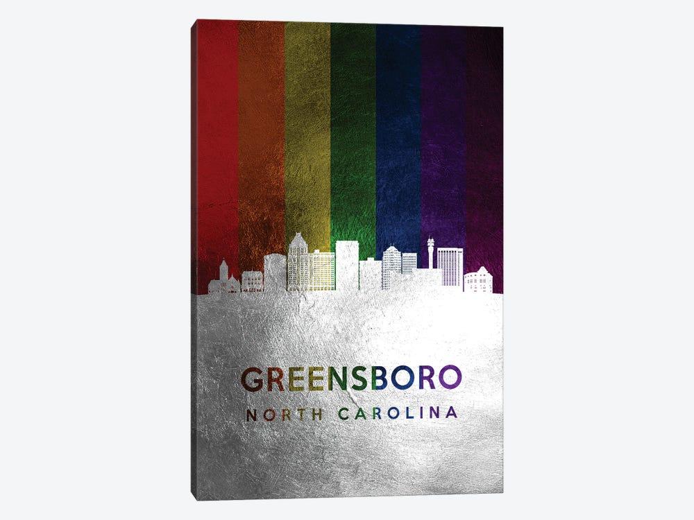 Greensboro North Carolina Spectrum Skyline by Adrian Baldovino 1-piece Canvas Art Print