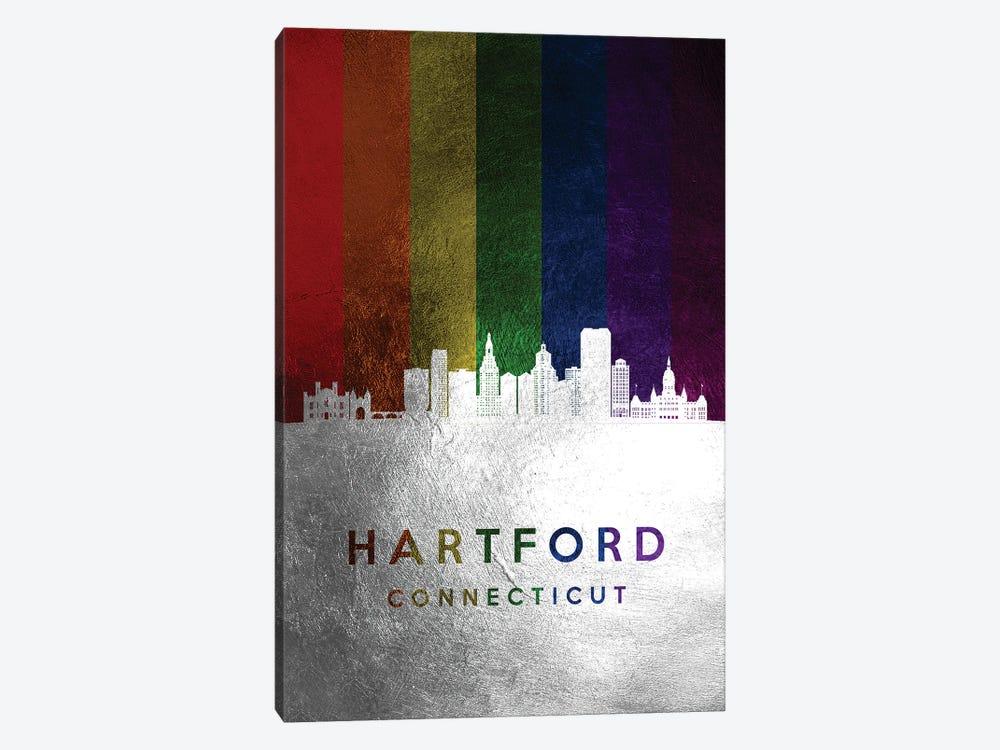 Hartford Connecticut Spectrum Skyline by Adrian Baldovino 1-piece Canvas Artwork
