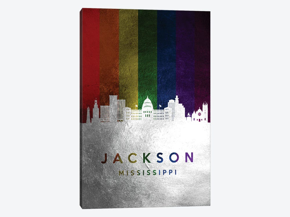 Jackson Mississippi Spectrum Skyline by Adrian Baldovino 1-piece Canvas Wall Art