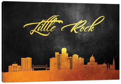 Little Rock Arkansas Gold Skyline Canvas Art Print