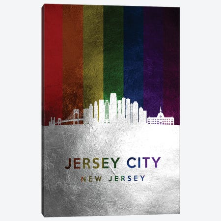 Jersey City New Jersey Spectrum Skyline Canvas Print #ABV701} by Adrian Baldovino Canvas Art