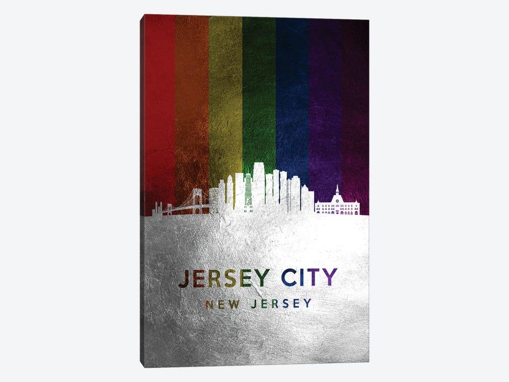 Jersey City New Jersey Spectrum Skyline by Adrian Baldovino 1-piece Canvas Wall Art