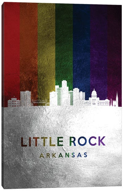 Little Rock Arkansas Spectrum Skyline Canvas Art Print