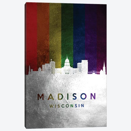 Madison Wisconsin Spectrum Skyline Canvas Print #ABV711} by Adrian Baldovino Art Print