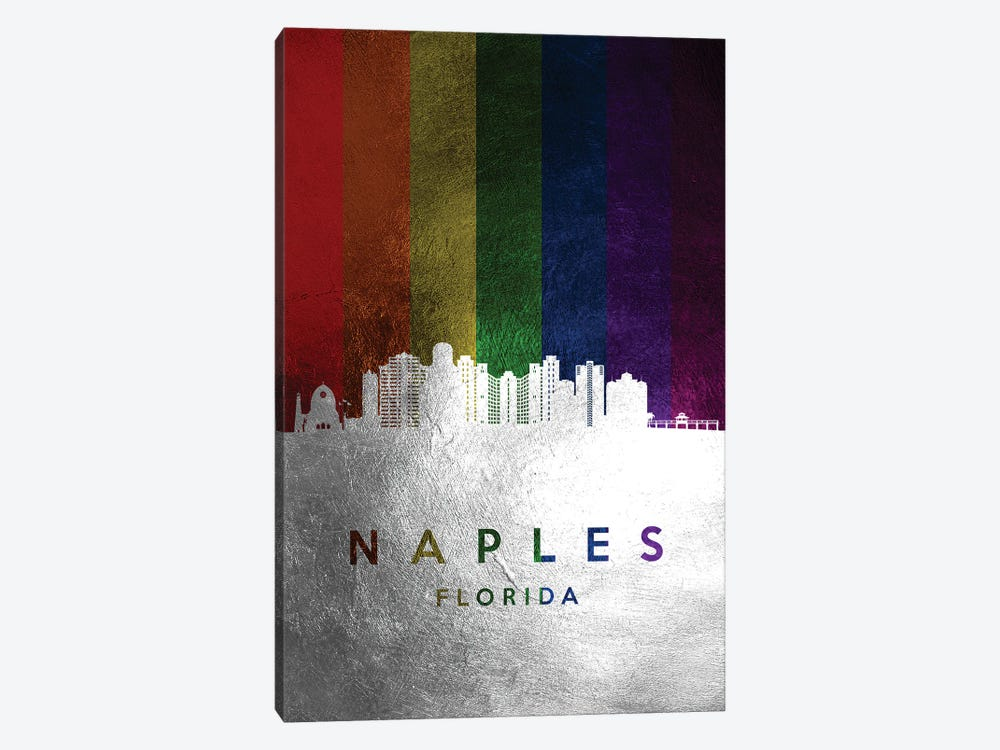 Naples Florida Spectrum Skyline by Adrian Baldovino 1-piece Canvas Art