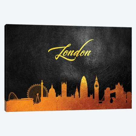 London England Gold Skyline Canvas Print #ABV71} by Adrian Baldovino Canvas Art Print