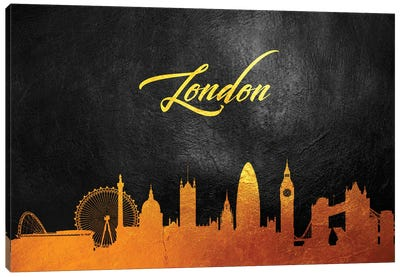 London England Gold Skyline Canvas Art Print