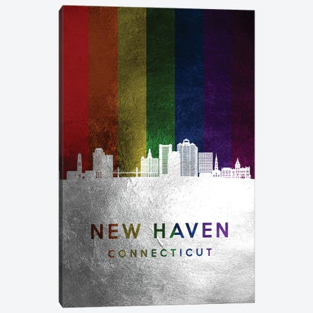 New Haven Connecticut Spectrum Skyline Canvas Print #ABV720} by Adrian Baldovino Canvas Artwork