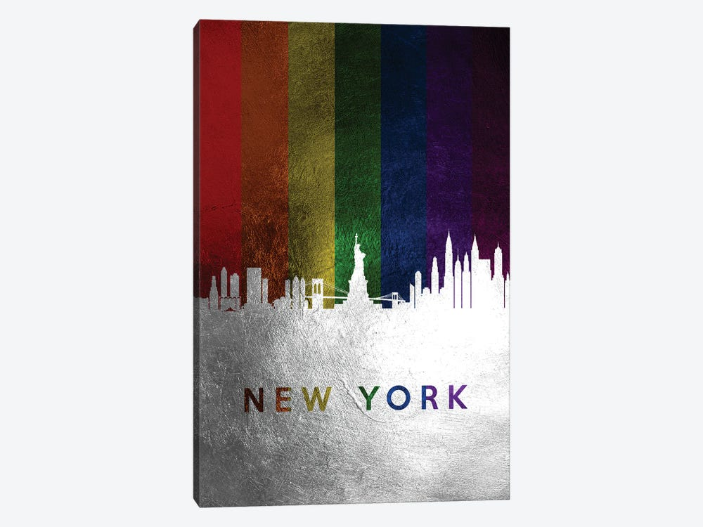 New York Spectrum Skyline by Adrian Baldovino 1-piece Canvas Art Print