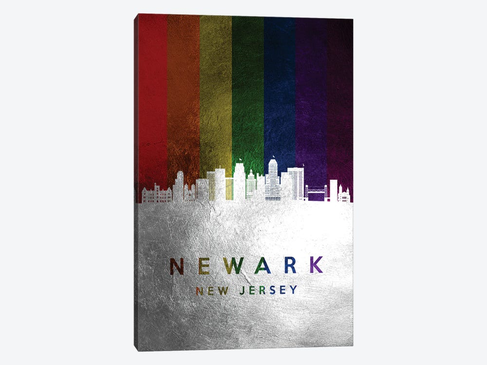 Newark New Jersey Spectrum Skyline by Adrian Baldovino 1-piece Art Print