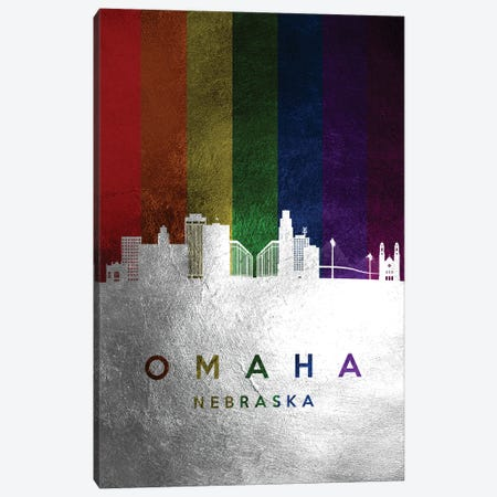 Omaha Nebraska Spectrum Skyline Canvas Print #ABV728} by Adrian Baldovino Canvas Wall Art