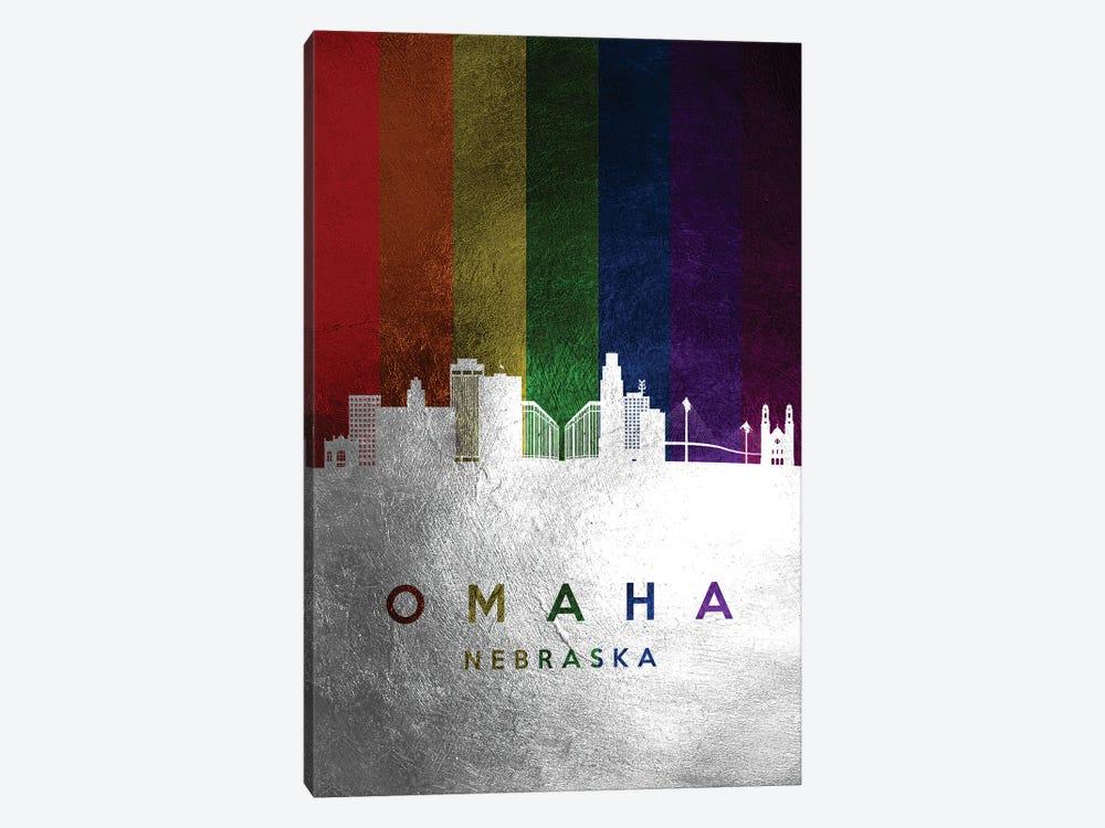 Omaha Nebraska Spectrum Skyline by Adrian Baldovino 1-piece Canvas Print