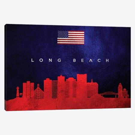 Long Beach California Skyline Canvas Print #ABV72} by Adrian Baldovino Canvas Print