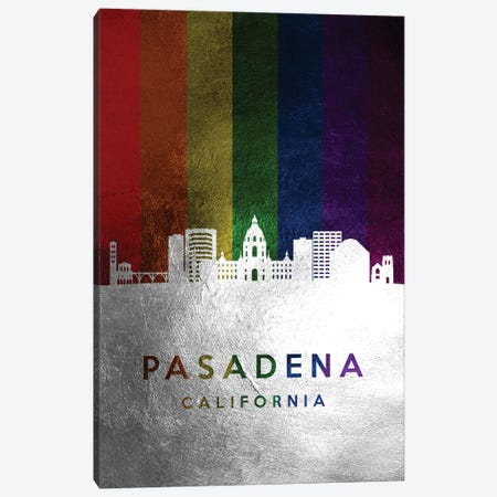 Pasadena California Spectrum Skyline Canvas Print #ABV731} by Adrian Baldovino Canvas Art Print