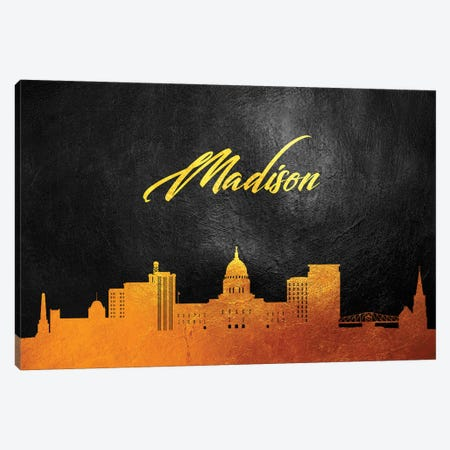 Madison Wisconsin Gold Skyline Canvas Print #ABV73} by Adrian Baldovino Canvas Print