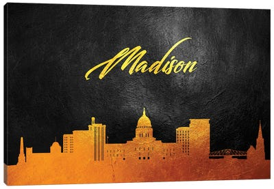 Madison Wisconsin Gold Skyline Canvas Art Print