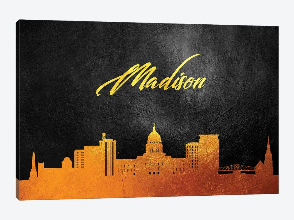 Madison Wisconsin Gold Skyline by Adrian Baldovino 1-piece Canvas Art Print