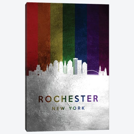 Rochester New York Spectrum Skyline Canvas Print #ABV741} by Adrian Baldovino Canvas Artwork