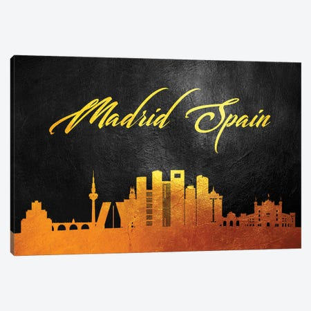 Madrid Spain Gold Skyline Canvas Print #ABV74} by Adrian Baldovino Canvas Artwork