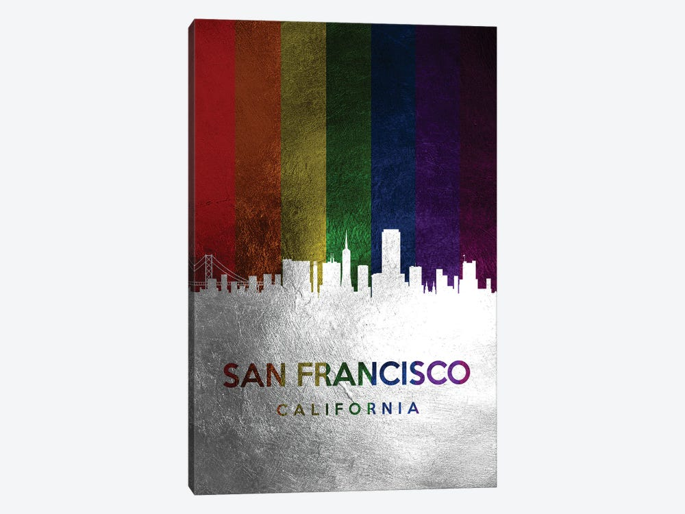 San Francisco California Spectrum Skyline by Adrian Baldovino 1-piece Canvas Print