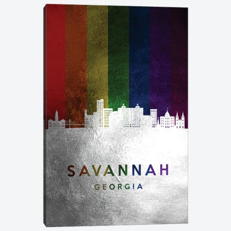 Savannah Georgia Spectrum Skyline Canvas Print #ABV757} by Adrian Baldovino Canvas Artwork