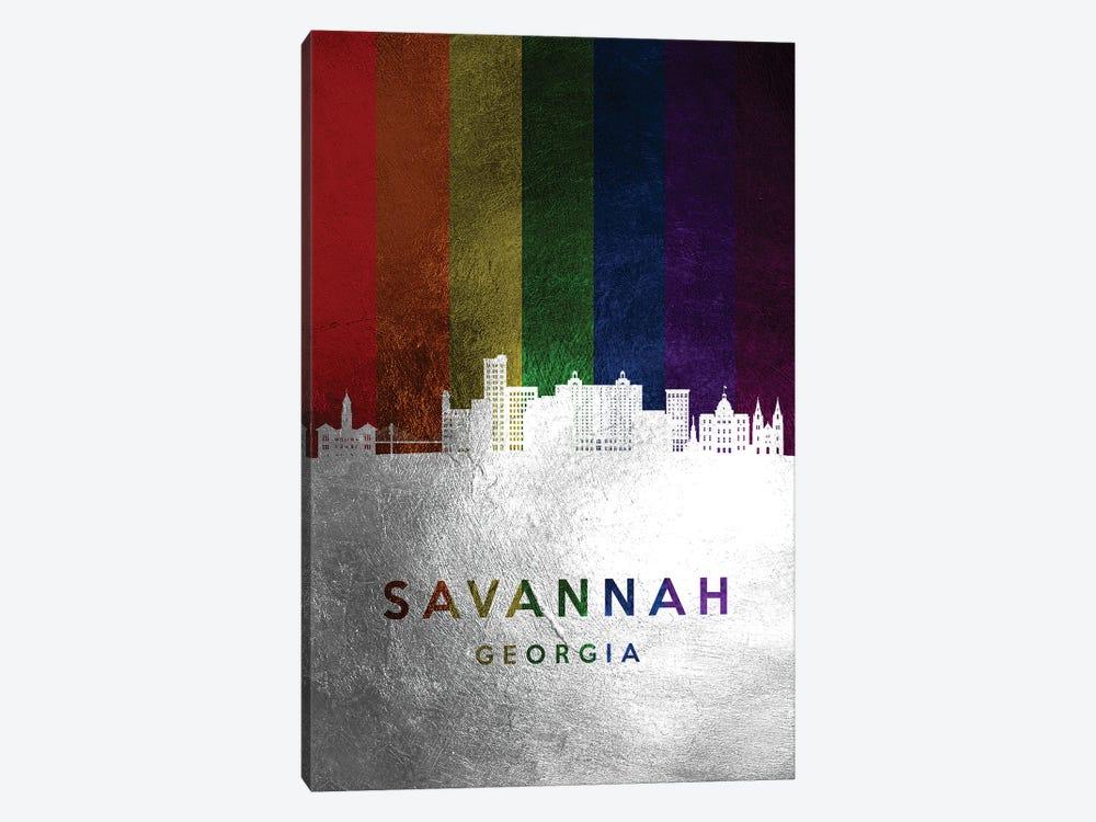 Savannah Georgia Spectrum Skyline by Adrian Baldovino 1-piece Canvas Art Print