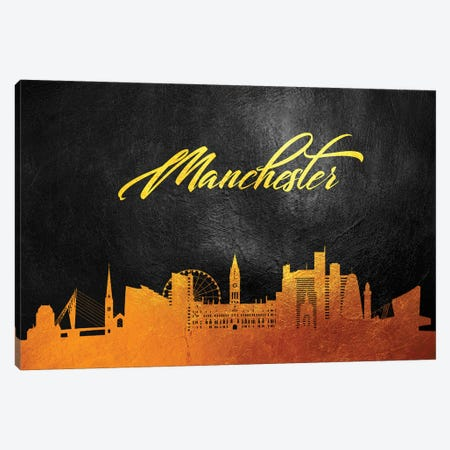 Manchester England Gold Skyline Canvas Print #ABV75} by Adrian Baldovino Canvas Wall Art