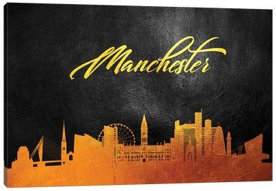 Manchester England Gold Skyline Canvas Art Print