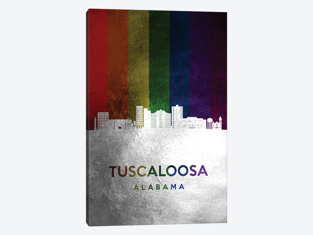 Tuscaloosa Alabama Spectrum Skyline by Adrian Baldovino 1-piece Canvas Art Print