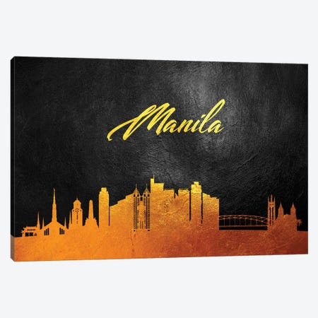 Manila Philippines Gold Skyline Canvas Print #ABV76} by Adrian Baldovino Canvas Art