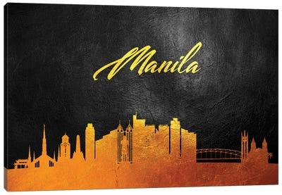 Manila Philippines Gold Skyline Canvas Art Print