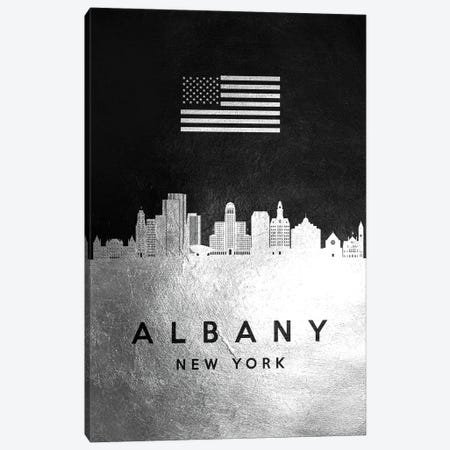 Albany New York Silver Skyline Canvas Print #ABV771} by Adrian Baldovino Art Print