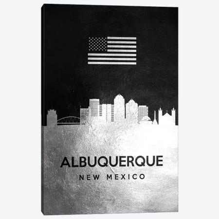 Albuquerque New Mexico Silver Skyline Canvas Print #ABV772} by Adrian Baldovino Art Print
