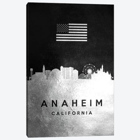 Anaheim California Silver Skyline Canvas Print #ABV773} by Adrian Baldovino Canvas Print