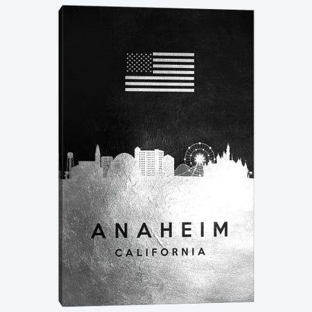 Anaheim California Silver Skyline Canvas Print #ABV773} by Adrian Baldovino Canvas Print