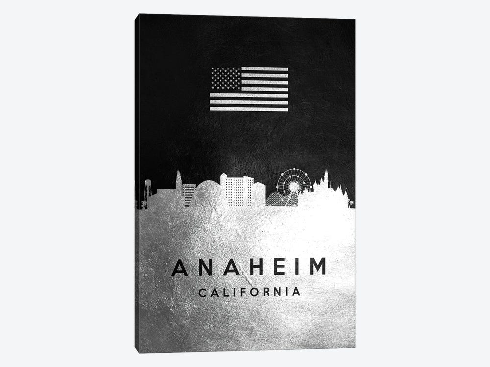 Anaheim California Silver Skyline by Adrian Baldovino 1-piece Canvas Art Print