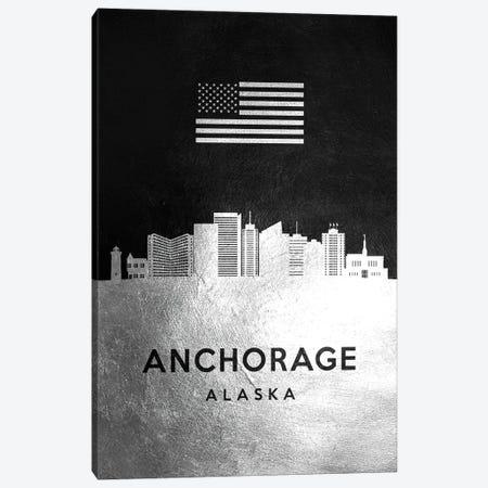 Anchorage Alaska Silver Skyline Canvas Print #ABV774} by Adrian Baldovino Canvas Artwork